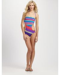 Marc By Marc Jacobs | Gray Marc by Marc Jacobs One-Piece Striped/Metallic Swimsuit | Lyst
