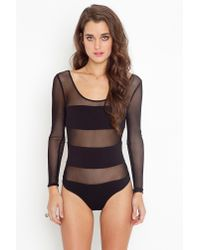 Nasty Gal | Black Stripe Mesh Bodysuit | Lyst