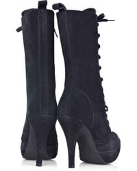 Pedro Garcia | Blue Cher Lace-up Suede Boots | Lyst