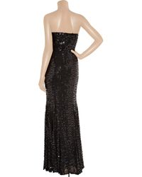 Rachel Gilbert - Black Leticia Sequined Strapless Gown - Lyst