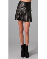 Rag & Bone - Black Ezra Pleated Leather Mini Skirt - Lyst