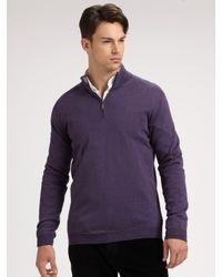 Saks Fifth Avenue - Purple Merino Wool Half-Zip Sweater for Men - Lyst