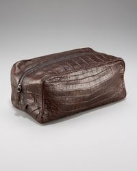 Santiago Gonzalez - Zip-top Crocodile Toiletry Bag, Brown for Men - Lyst