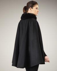 Sofia Cashmere - Black Fur-collar Cape - Lyst