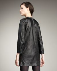 Theory - Black Crinkled Leather Dress - Lyst