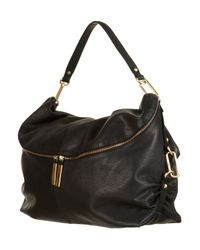 TOPSHOP - Black Clip and Leather Slouch Bag - Lyst