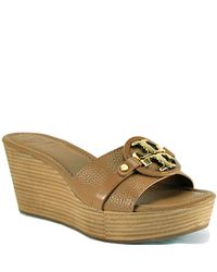 Tory Burch | Brown Patti - Tan Leather Mid Wedge Slide | Lyst