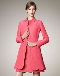 Valentino - Pink Scalloped-trim Coat - Lyst