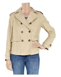 Vince | Natural Short Waxed Cotton-blend Trench Coat | Lyst