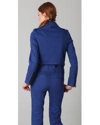 3.1 Phillip Lim - Blue Belted Biker Pea Coat - Lyst