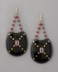 Ashley Pittman | Black Kombe Drop Earrings, Dark Horn | Lyst