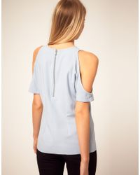 ASOS Collection - Yellow Asos Petite Exclusive Top with Cut Out Shoulder Detail - Lyst