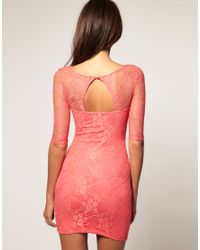 ASOS Collection - Pink Asos Petite Exclusive Lace Dress with Cut Out Back Detail - Lyst