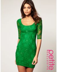 ASOS Collection | Green Asos Petite Exclusive Lace Dress with Cut Out Back Detail | Lyst