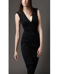 Burberry | Black Deep V-neck Jersey Dress | Lyst