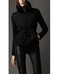 Burberry | Black Fur Collar Quilted Jacket | Lyst