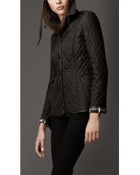 Burberry | Black Leather Trim Quilted Jacket | Lyst