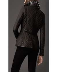 Burberry - Black Leather Trim Quilted Jacket - Lyst