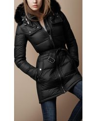 Burberry Brit | Black Fur Trim Puffer Jacket | Lyst