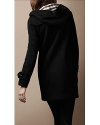 Burberry Brit - Black Wool Duffle Coat with Check Lining - Lyst