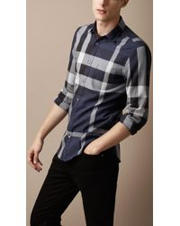Burberry Brit - Blue Exploded Check Cotton Shirt for Men - Lyst