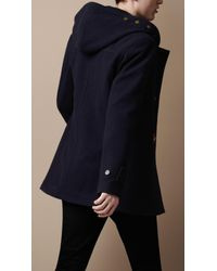 Burberry Brit   Blue Hooded Wool Duffle Coat for Men   Lyst