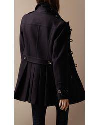 Burberry Brit | Blue Regimental Wool Duffle Coat | Lyst