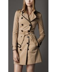Burberry | Natural Leather Detail Trench Coat | Lyst