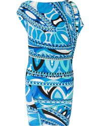 Emilio Pucci | Blue Ruffled Printed Silk-chiffon Mini Dress | Lyst