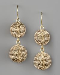 Fragments | Metallic Pave Ball Drop Earrings, Golden | Lyst