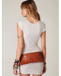 Free People - Brown Skirted Fringe Belt - Lyst