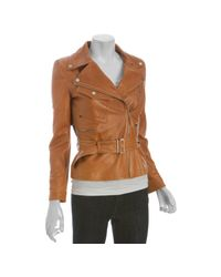 Gucci - Natural Leather Belted Motorcycle Jacket - Lyst