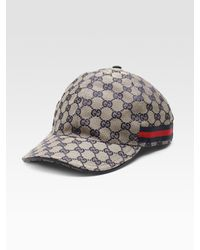Gucci - Gray Canvas Baseball Hat for Men - Lyst