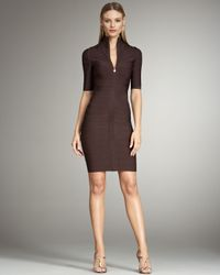 Hervé Léger | Brown Front-zip Turtleneck Bandage Dress | Lyst