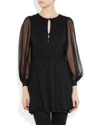 Holy Tee | Black Yves Stretch-jersey and Silk-chiffon Dress | Lyst