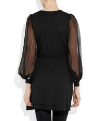 Holy Tee | Black Yves Stretch-jersey and Silk-chiffon Dress | Lyst