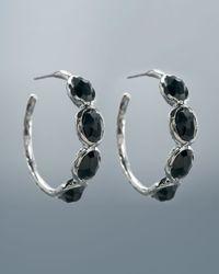 Ippolita - Black Fourstone Hoop Earrings Small - Lyst