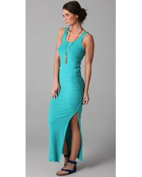James Perse | Blue Side Split Long Tank Dress | Lyst