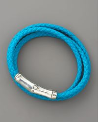 John Hardy - Blue Bamboo Wrapped Leather Bracelet, Turquoise - Lyst