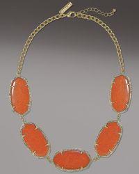 Kendra Scott - Brown Valencia Necklace, Goldstone - Lyst