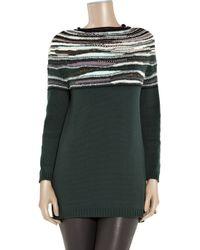 M Missoni | Green Wool-blend Striped Sweater | Lyst