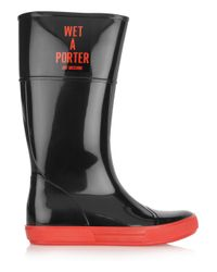 Boutique Moschino | Black Wet-A-Porter Patent-Rubber Boots | Lyst