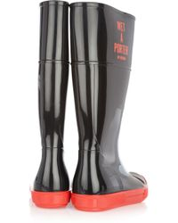 Boutique Moschino - Black Wet-A-Porter Patent-Rubber Boots - Lyst