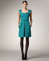 Nanette Lepore | Green Belted Grosgrain Dress | Lyst