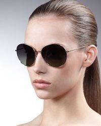 Oliver Peoples | Black Blondell Round Aviator Sunglasses | Lyst