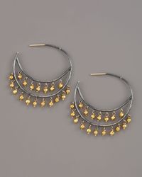 Padma - Metallic Beaded Hoop Earrings, Medium - Lyst