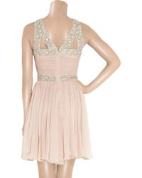 Rachel Gilbert | Pink Samara Embellished Silk-crepe Dress | Lyst