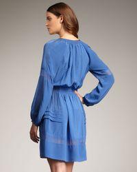 Rebecca Taylor   Blue Silk Peasant Dress   Lyst