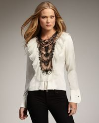 Royal Underground - White Bead-front Ruffle Blouse - Lyst
