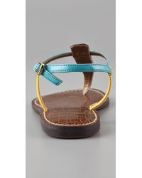 Sam Edelman | Blue Gigi Colorblock T Strap Flat Sandals | Lyst